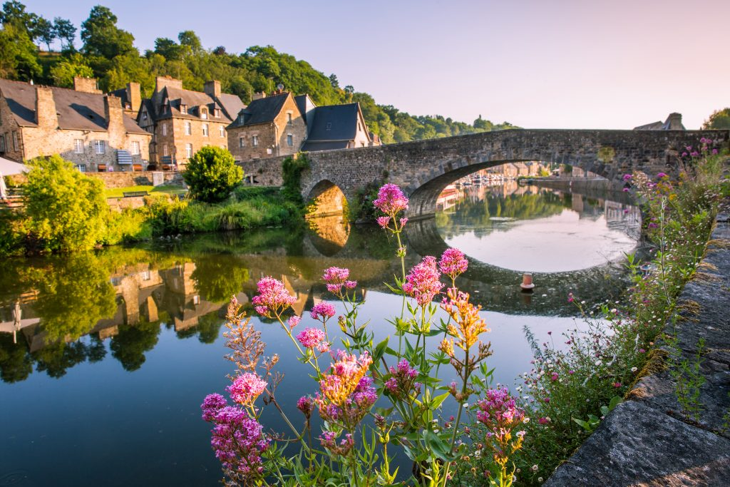 Dinan Old Medieval Bridge and Stone Houses
