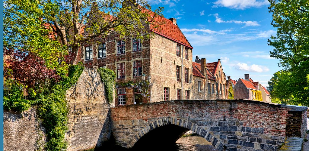 Bruges Belgium bridge over canal ancient medieval street
