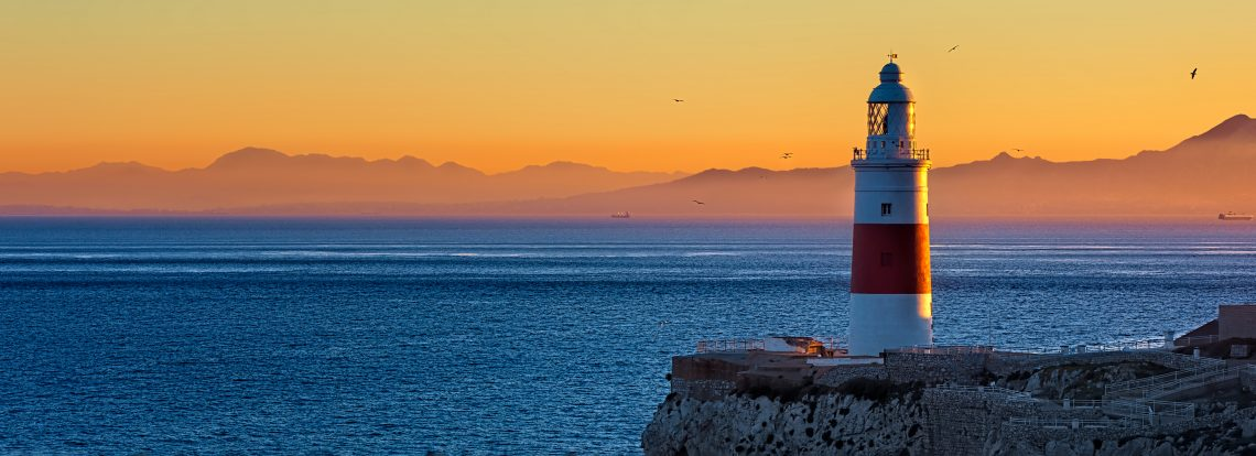 Gibraltar Lighthouse at dawn