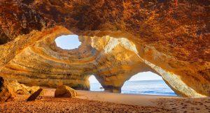 Benagil Cathedral on the beautiful Algarve Portugal.