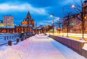 Winter in Old Town in Helsinki