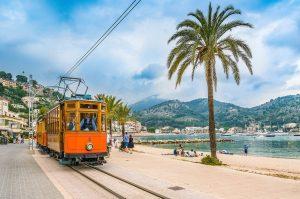 Old Wooden Tram on Soller Beach in Majorca