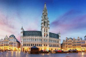 Grand Place in Brussels in night.