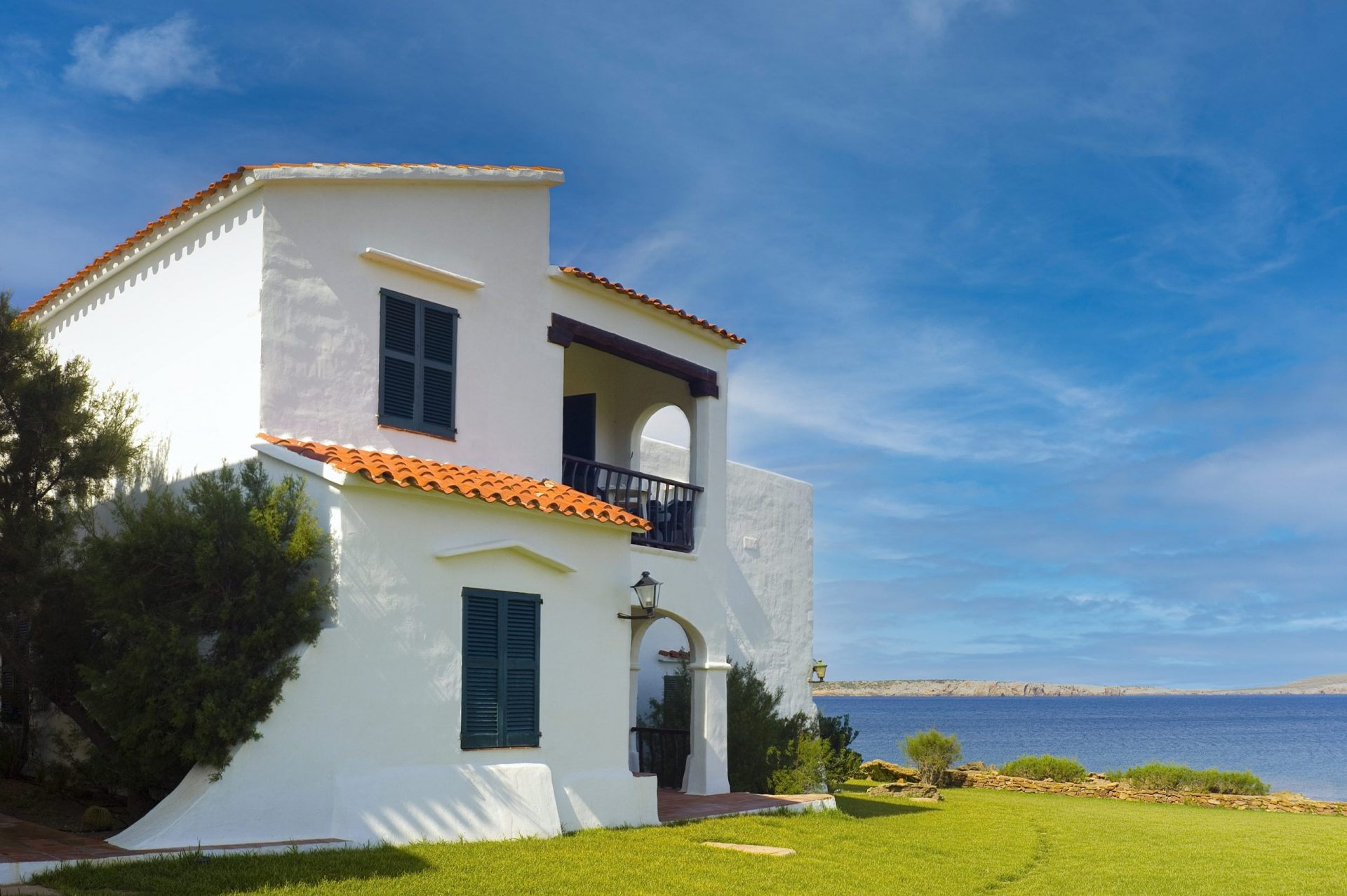 Majorca Holiday villas on a hot summers day.