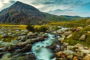Pen yr Ole Wen and mountain stream in Snowdonia National Park Wales