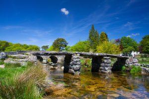 The ancient clapper bridge at Postbridges in Dartmoor National Park