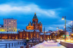Winter scenery of the Old Town in Helsinki