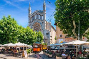 Soller Tram in market square Soller
